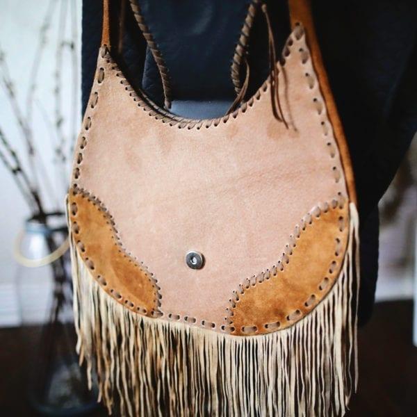 Hand-Stitched Guatemalan Brown Leather Fringed Handbag