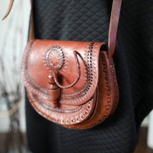 Hand-Stitched Guatemalan Rich Brown Leather Handbag with Wooden Pin Toggle