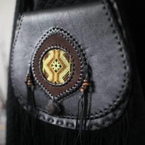 Hand-Stitched Guatemalan Black Leather Fringed Handbag